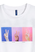 Printed T-shirt - White/Peace sign - Men | H&M GB 2