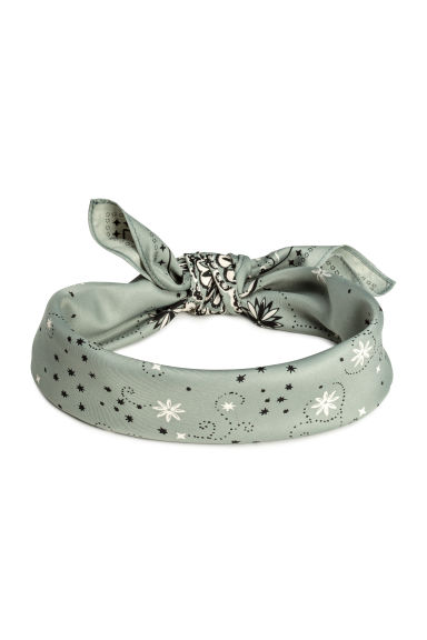 Scarf/Hairband - Dusky green/Patterned - Ladies | H&M CN 1