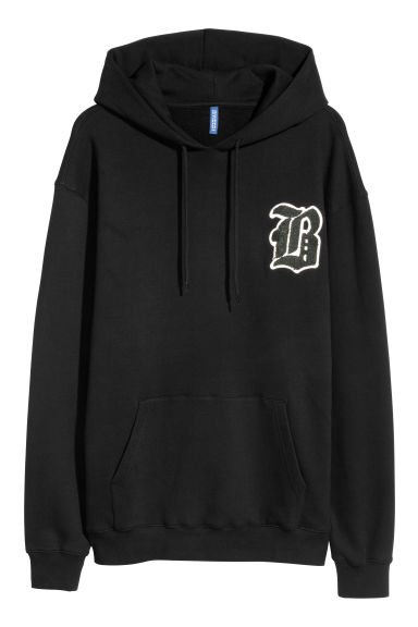 Hooded top with a print motif - Black/B - Men | H&M