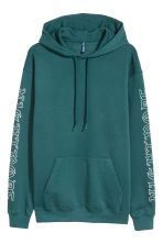 Hooded top with a print motif - Dark turquoise - Men | H&M CN 2