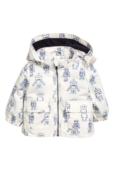 Fleece-lined outdoor jacket - White/Robot -  | H&M 1