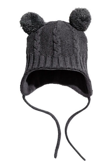Fleece-lined hat - Dark grey -  | H&M 1