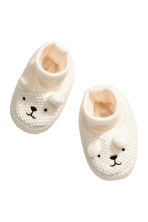Knitted bootees - Natural white - Kids | H&M 1