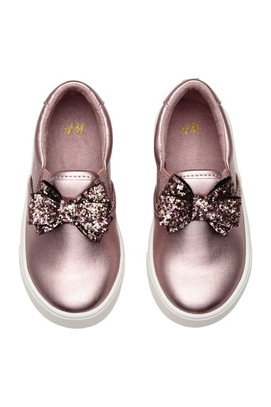Slip-on trainers with a bow - Pink/Metallic - Kids | H&M 1