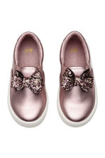 Slip-on trainers with a bow - Pink/Metallic - Kids | H&M CN 1