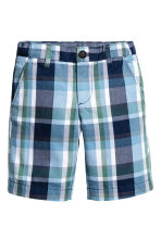 Cotton chino shorts - Dark blue/Checked - Kids | H&M 2