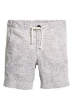 Linen-blend shorts - Light grey marl -  | H&M 2