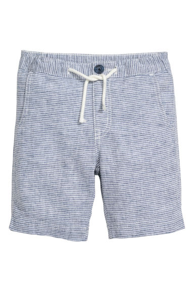 Linen-blend shorts - Blue marl - Kids | H&M CA