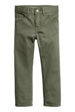 Broek van keper - Regular fit - Kakigroen -  | H&M BE 2