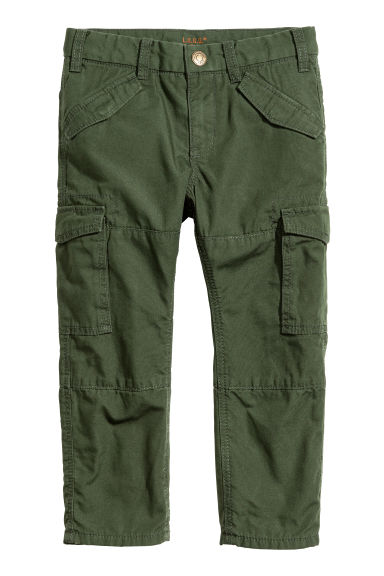 Lined cargo trousers - Dark khaki green - Kids | H&M CN