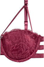 Lace balconette bra - Burgundy - Ladies | H&M 3