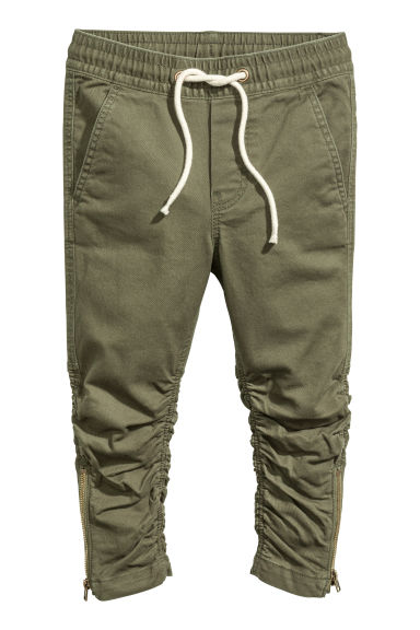 Joggers with zips - Khaki green - Kids | H&M CN 1