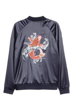 Embroidered bomber jacket - Dark blue/Fish - Men | H&M CN 1
