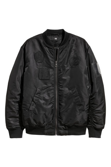 Bomber jacket with appliqués - Black - Men | H&M CN