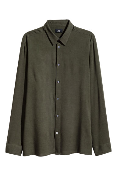 Linen-blend shirt Regular fit - Dark khaki green - Men | H&M CN 1