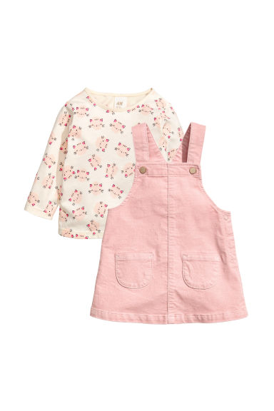 Top and Bib Overall Dress - Light pink - Kids | H&M CA