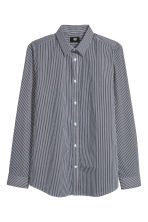 Stretch shirt Slim fit - Dark blue/White striped - Men | H&M CN 2