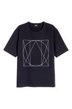 Woven T-shirt with print motif - Dark blue - Men | H&M CN 2