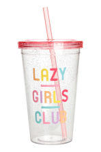 Mug with a straw - Coral pink - Ladies | H&M 1
