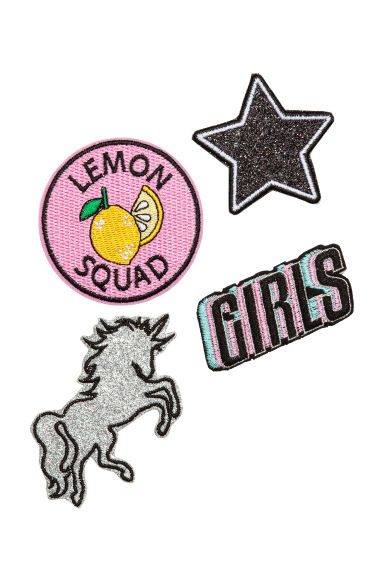 Multipack fabric patches - Pink/Unicorn - Ladies | H&M 1