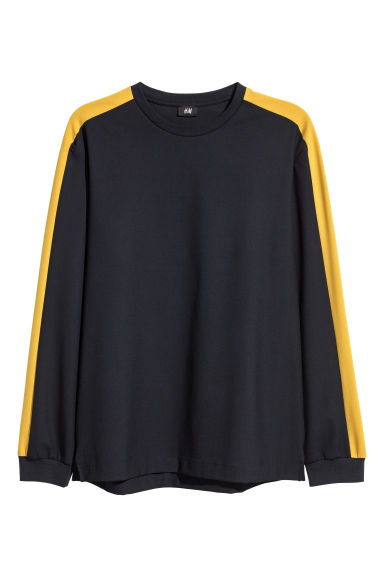 Top with sleeve stripes - Navy blue/Yellow - Men | H&M GB