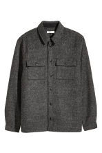 Wool-blend shirt jacket - Dark grey marl - Men | H&M CN 2