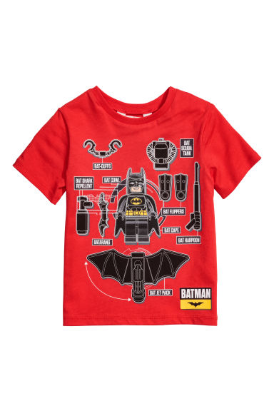 Printed T-shirt - Red/Lego - Kids | H&M 1