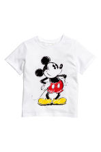 T-shirt with a print motif - White/Mickey Mouse - Kids | H&M CN 2
