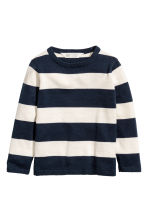 Fine-knit cotton jumper - Dark blue/White striped -  | H&M 2