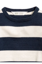 Fine-knit cotton jumper - Dark blue/White striped -  | H&M 3
