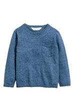 Fine-knit cotton jumper - Blue marl -  | H&M 2