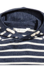 Knitted hooded jumper - Dark blue/Striped - Kids | H&M CN 3