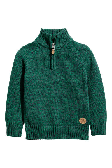 Knitted jumper with a zip - Green marl -  | H&M CN