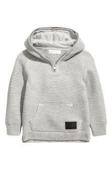 Ribbed hooded jumper