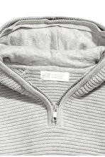 Ribbed hooded jumper - Grey - Kids | H&M CN 3