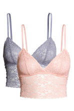 2-pack lace bralettes - Blue-grey - Ladies | H&M 2