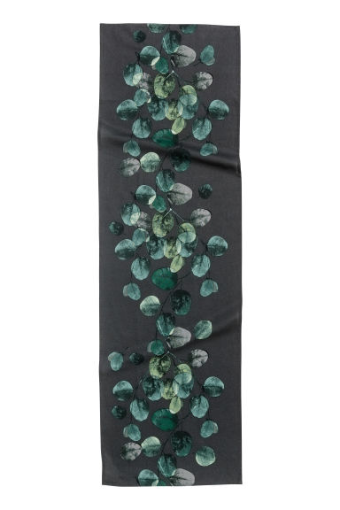 Leaf-patterned table runner - Anthracite grey/Leaf - Home All | H&M CN