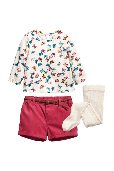 3-piece set - Natural white/Butterflies - Kids | H&M CN 1