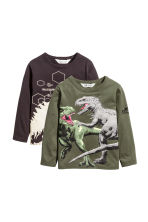 2件入平紋上衣 - Khaki green/Jurassic World - Kids | H&M 2