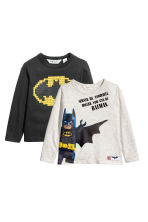 2-pack jersey tops - Light grey/Batman - Kids | H&M 2