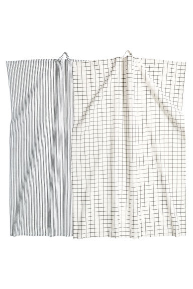 Lot de 2 linges à vaisselle - Blanc/motif - Home All | H&M CA 1