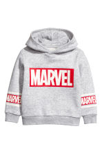 Printed hooded top - Light grey marl/Marvel - Kids | H&M 2