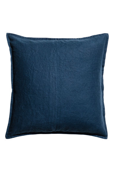 Washed linen cushion cover - Dark blue - Home All | H&M CA