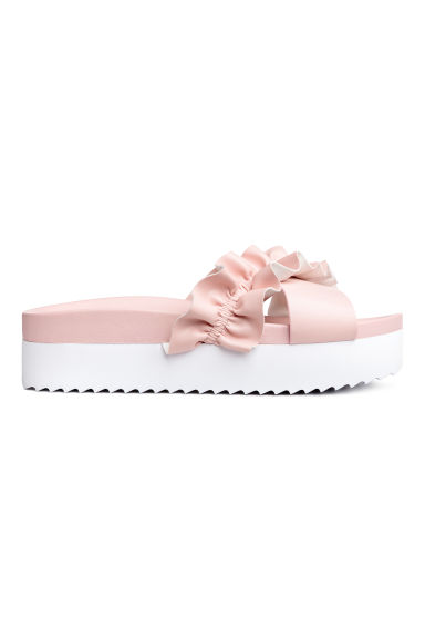 Frilled platform mules - Light pink - Ladies | H&M CN