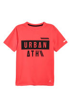 Short-sleeved sports top - Coral red -  | H&M CA 2