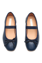 Leather ballet pumps - Dark blue - Kids | H&M CN 2