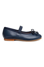 Leather ballet pumps - Dark blue - Kids | H&M CN 3