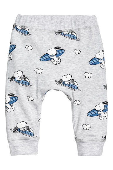 印花平紋長褲 - Light grey/Snoopy - Kids | H&M