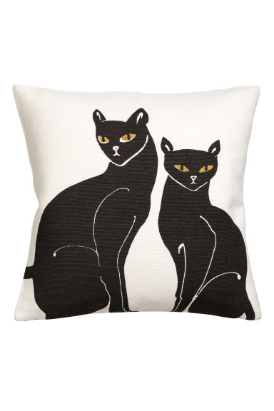 Embroidered cushion cover - White/Cats - Home All | H&M CN 1
