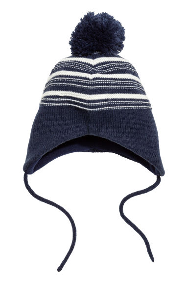Fleece-lined hat - Dark blue/White striped -  | H&M CN